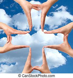 grand, symbole, croix, isolé, mains, monde médical