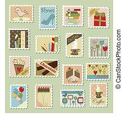 grand, timbres-poste, ensemble