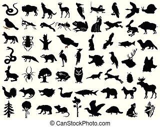 grand, usines, silhouettes, paysages, ensemble, vecteur, animaux