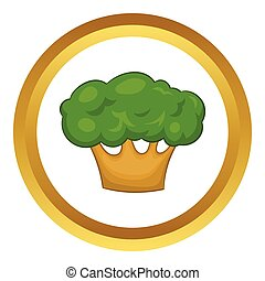grand, vecteur, arbre vert, icône