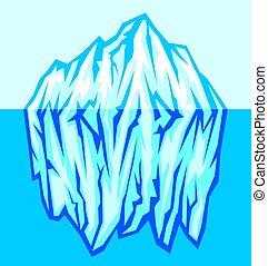 grand, vecteur, iceberg, mer, illustration