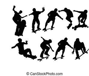 grand, vecteur, -, skateboard, collection