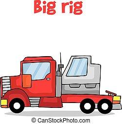 grand, vecteur, transport, dessin animé, derrick