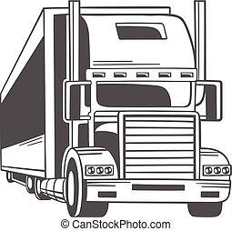 grand, vecteur, truck., illustration.
