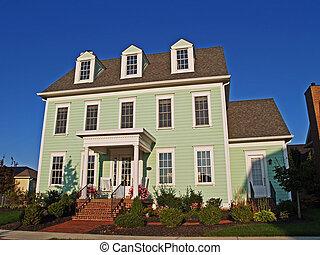 grand, vert, historique, appelé, maison, deux-histoire