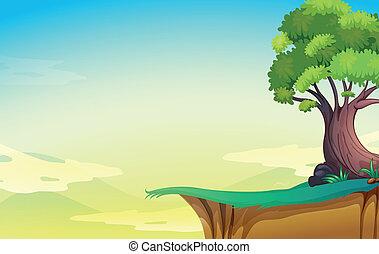 grand, vieil arbre, falaise