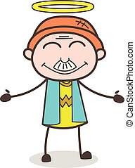 granddad, illustration, figure, vecteur, sourire, dessin animé, halo