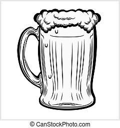 grande tasse, main, bière, dessiné, white., isolé, style.