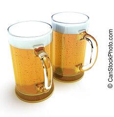 grandes tasses, bière, deux
