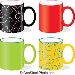 grandes tasses, coloré, isolé