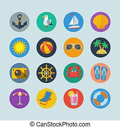grandes vacances, mer, icônes