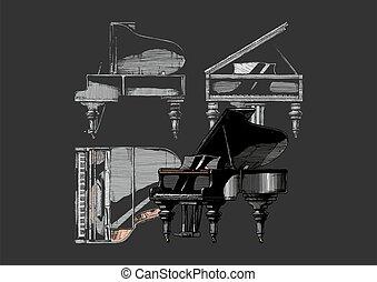 grandiose, illustration, piano