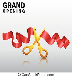 grandiose, ruban rouge, ouverture