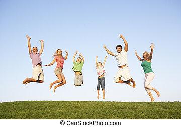 grands-parents, couple, jeune, saut, champ, enfants