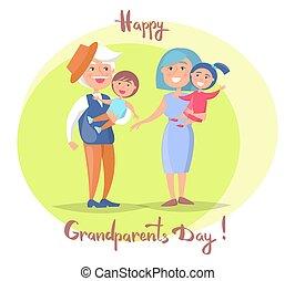 grands-parents, couple, jour, personne agee, enfants, heureux