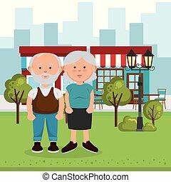grands-parents, couple, rue