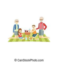grands-parents, gosses, pique-nique, avoir