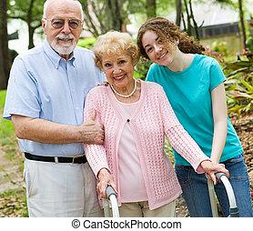 grands-parents, heureux