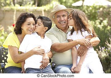 grands-parents, parc, petits-enfants, portrait