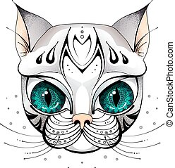 grands yeux, chat, figure