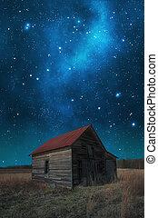 grange, ciel, nuit