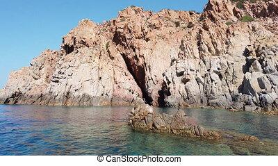 granit, cormorans, paire, mensonge, rocks., sardaigne