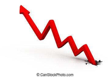 graph;, business, flèche, rouges