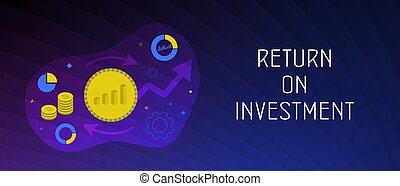 graphic., étirage, croissance, investissement, revenu, roi, levée, profit, ou, illustration., vision, stratégie, marché financier, affaires modernes, concept, finance, retour, toile, haut.