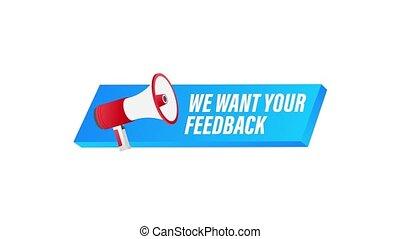 graphics., banner., mouvement, toile, design., nous, ton, porte voix, étiquette, feedback., vouloir