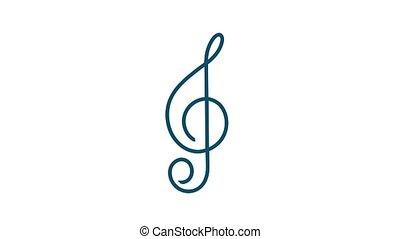 graphics., musique, icône, plat, musique, style., enregistrement, voix, mouvement, icon.