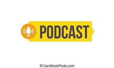graphics., podcast., mouvement, tamponnez icône, logo., écusson