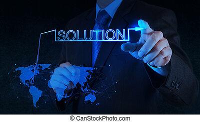 graphique, écran, pousser, solution, main, toucher, homme affaires