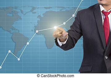 graphique, écran, virtuel, main, toucher, homme affaires
