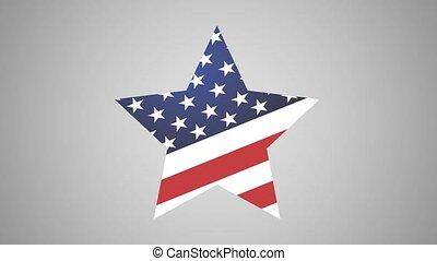 graphique, américain, ailes, mouvement, étoile, icône