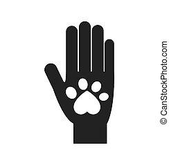 graphique, amour, chouchou, main, pied, vecteur, copie animale, icon.
