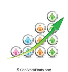 graphique, arrow., business, reussite, gens