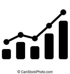 graphique barre, arrière-plan., vecteur, noir, blanc, icône