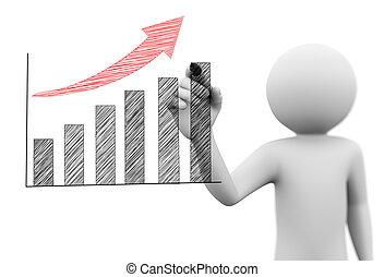 graphique barre, croissance, progrès, homme, gribouiller, dessin, 3d