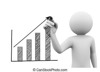graphique barre, personne, croissance, progrès, dessin, 3d