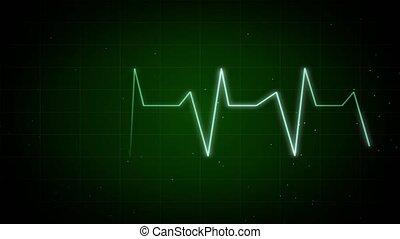 graphique, boucle, pulsation, moniteur, fond, rythme, ekg, ligne, 4k., coeur