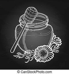 graphique, camomille, miel, bouteille, décoré, fleurs