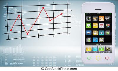 graphique, coût, smartphones, changements
