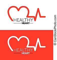 graphique, coeur, vecteur, symbole, sain, heart., logo, design., illustration., icon.