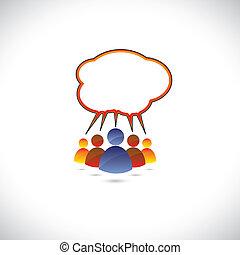 graphique, coloré, conversation, gens, bavarder, communicating.