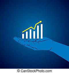 graphique, croissance, business, main