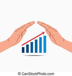 graphique, croissance, sous, business, main