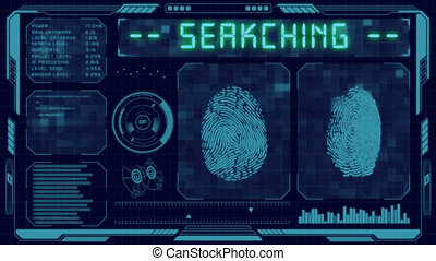 graphique, cyber, utilisateur, empreinte doigt, interface, futuriste