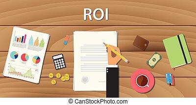 graphique, diagramme, retour, papier, bois, roi, quelques-uns, document, table, investissement, travail, main, concept