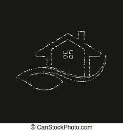 graphique, eco, maison, amical, craie, vecteur, logo, style.
