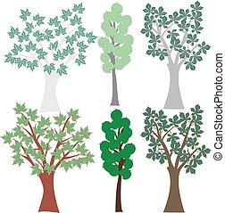 graphique, ensemble, agrafe, arbres., à feuilles caduques, vecteur, art